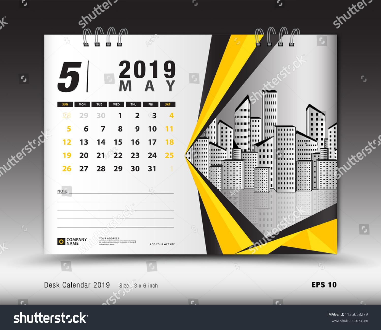 Desk Calendar May 2019 Template Printable Stock Vector Royalty Free