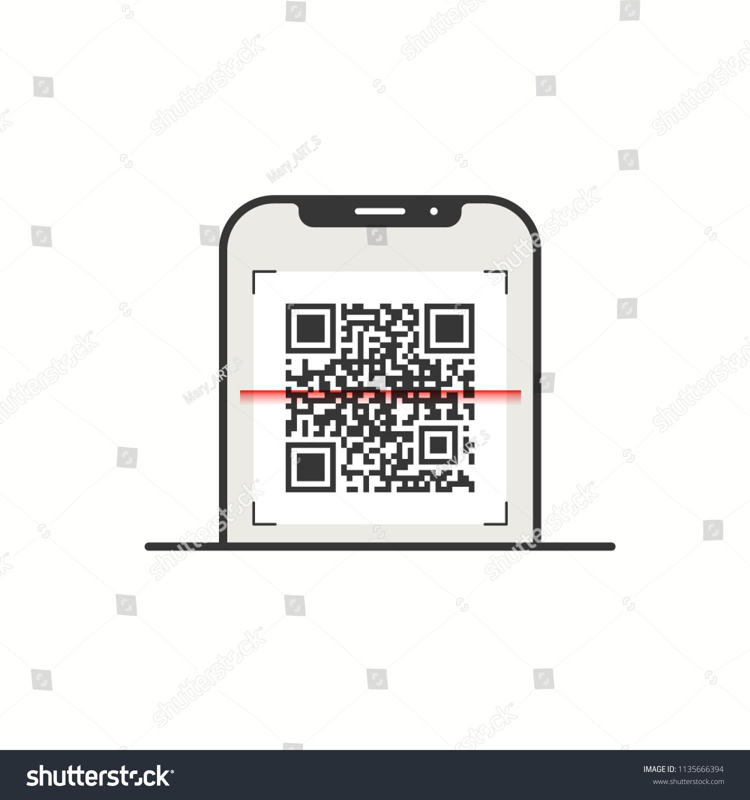 Scanning Qr Code Mobile Phone Symbol Stock Photo Photo Vector
