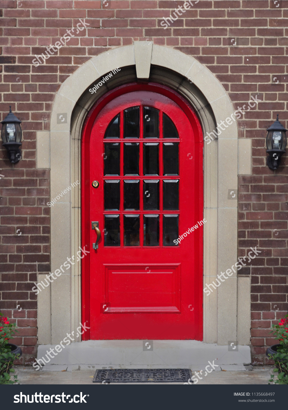 Bright Red Front Door House Panes Stock Photo Edit Now 1135668497
