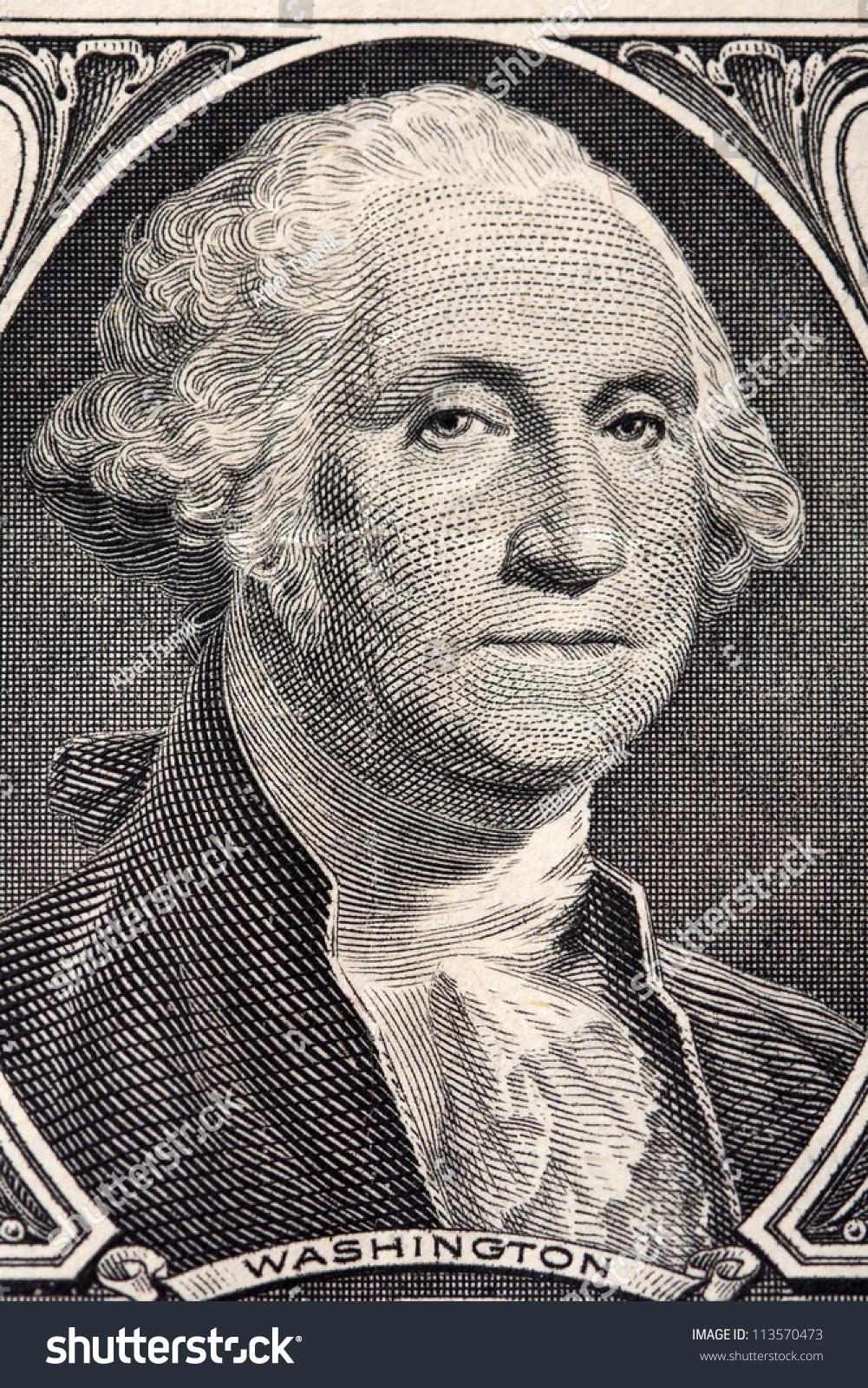 Macro Closeup Washingtons Face On One Stock Photo