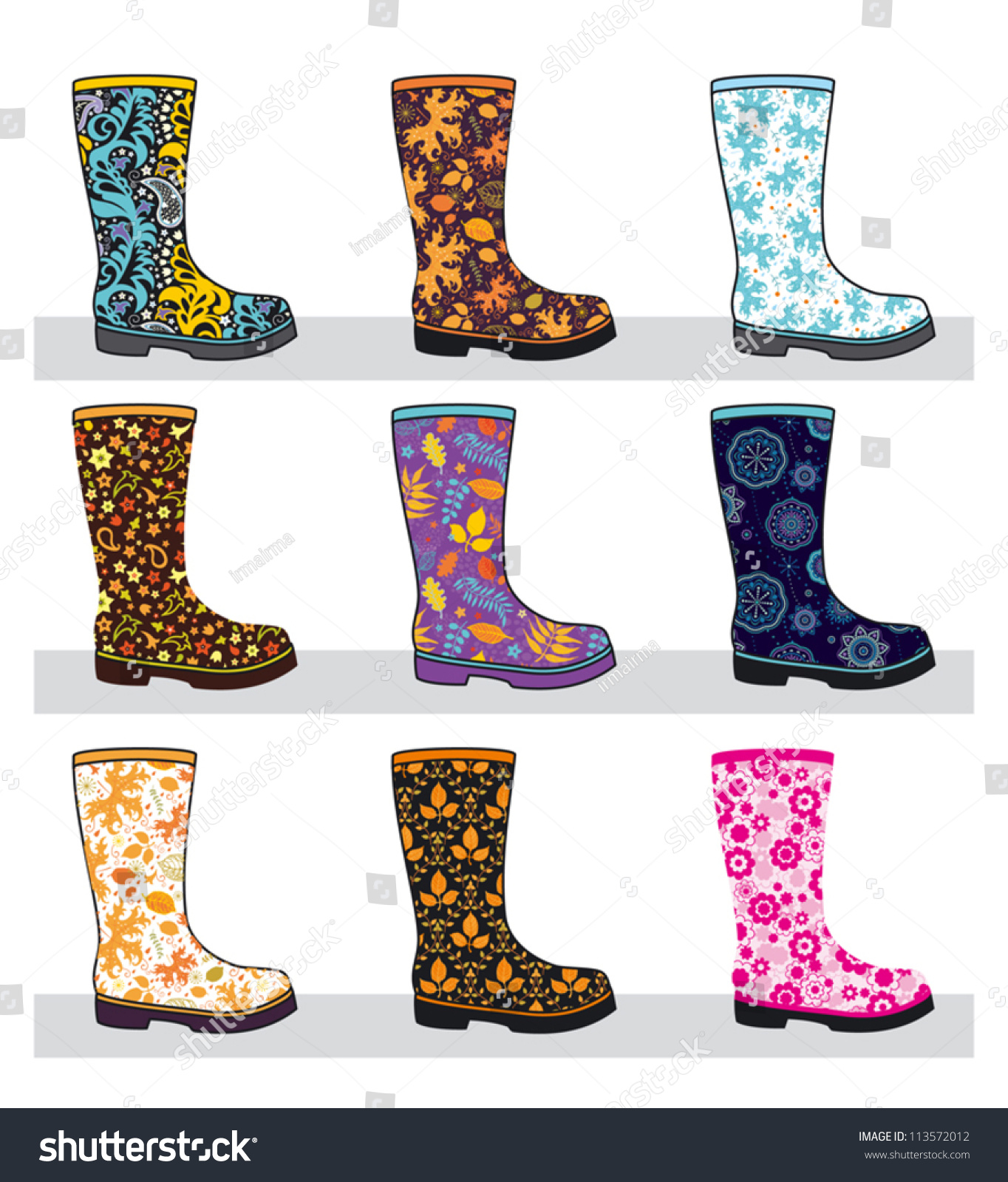 Boots fashion pic boots clip art - Set Of Fashionable Colorful Rubber Boots With Patterns Vector Illustration 113572012 Shutterstock