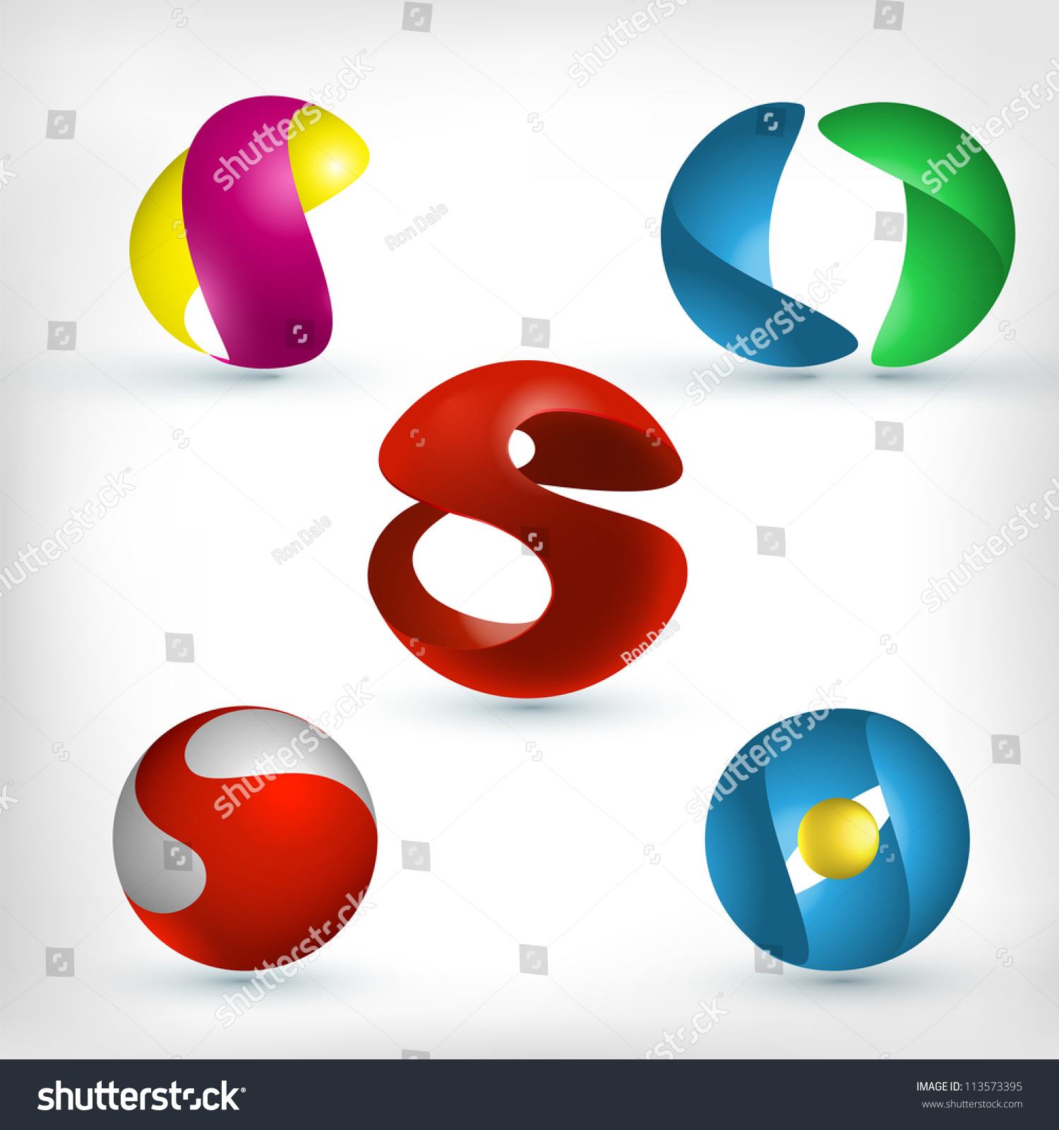 abstract 3d sphere logos carving set stock vector Ball Vector vector spherical harmonics on fermi surfaces