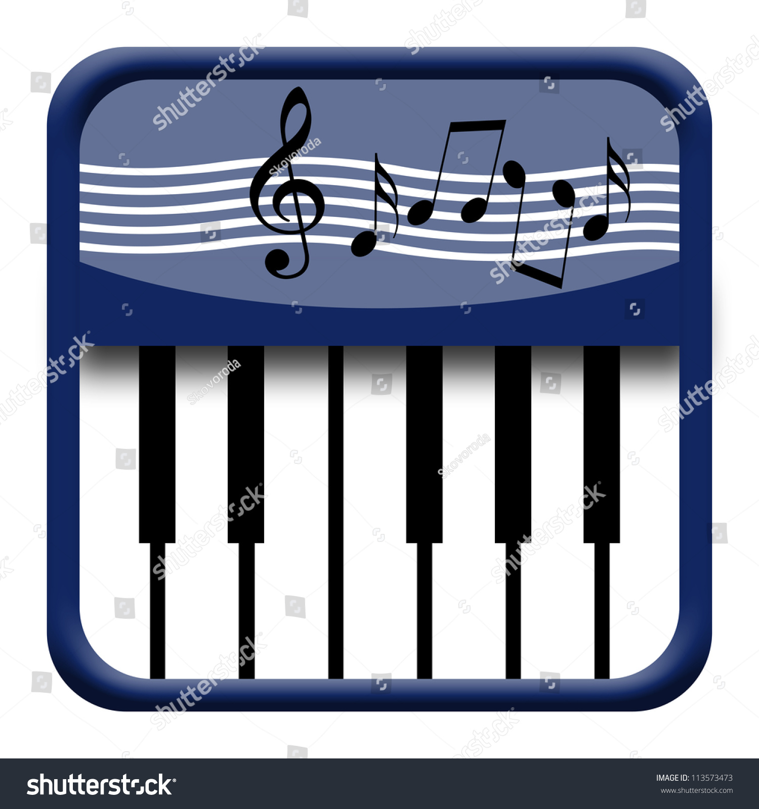 Piano Keyboard Icon Musical Symbols Stock Illustration 113573473