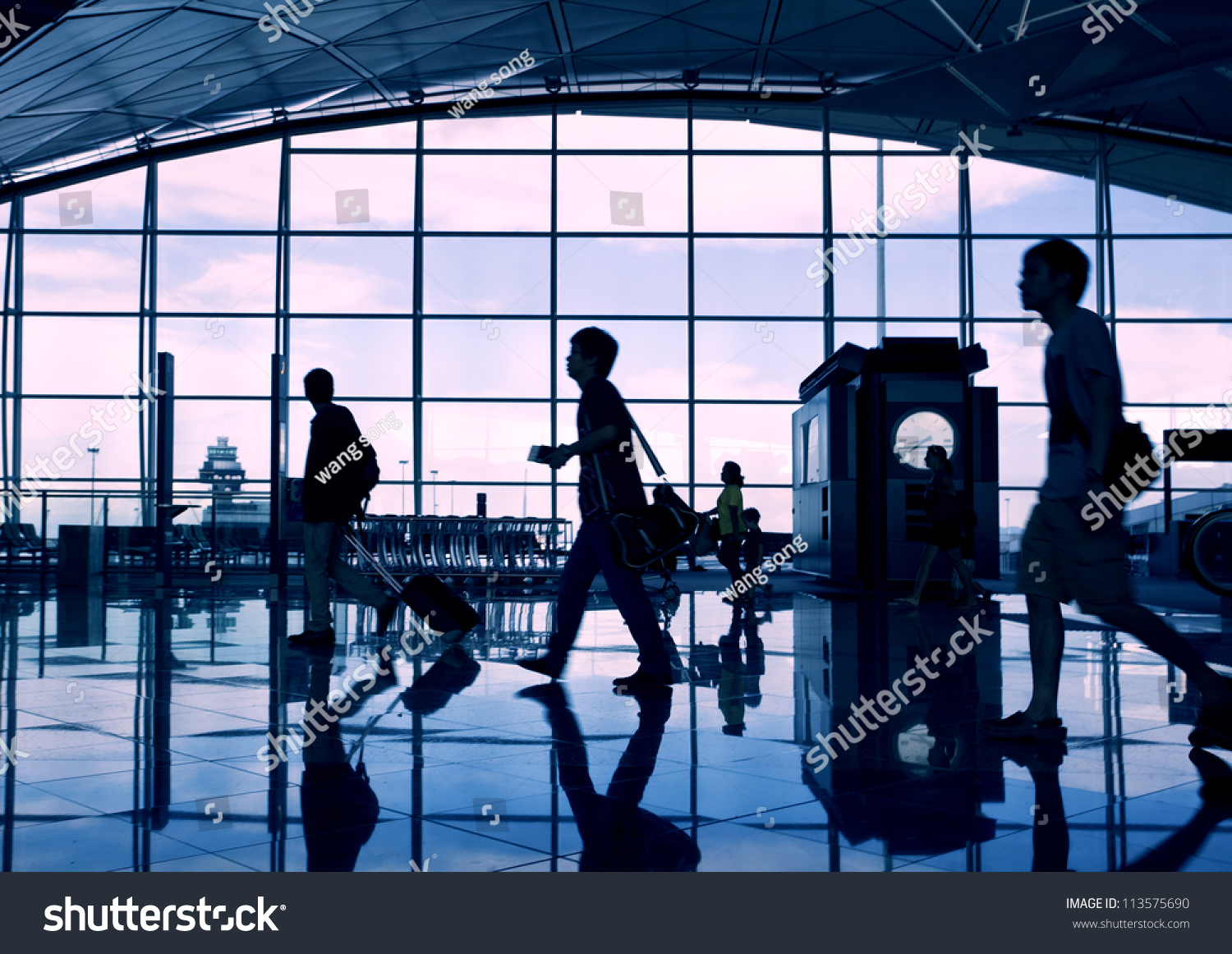 Airport Terminal Hall. Walking Travelers Stock Photo ...