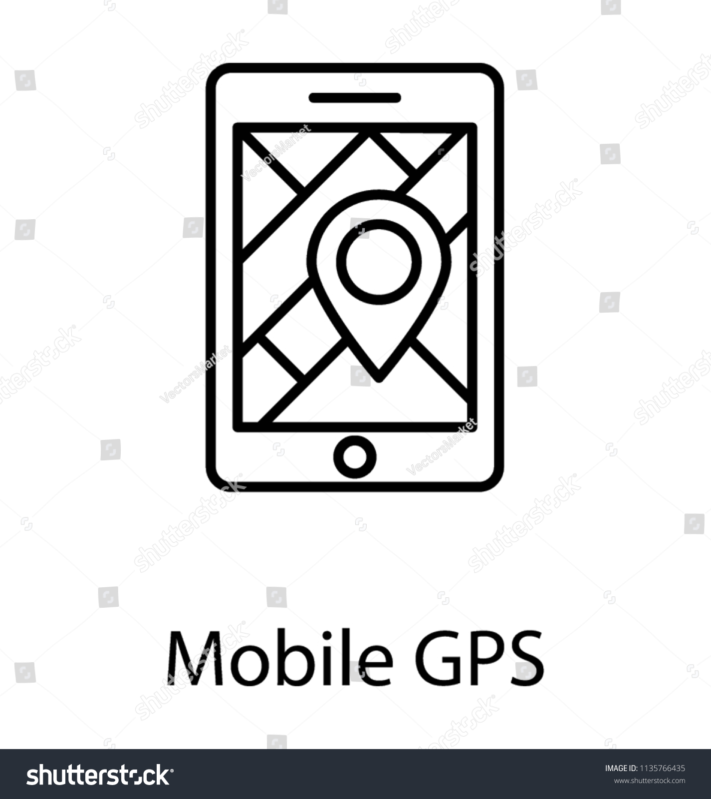 Compass On Mobile Phone Screen Mobile Stock Vector (Royalty