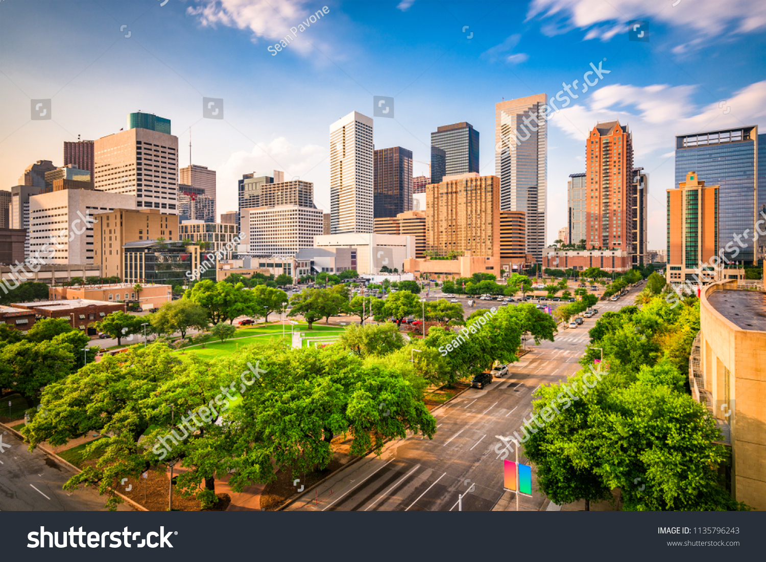 Houston, Texas, USA downtown city skyline over Root Square. #1135796243