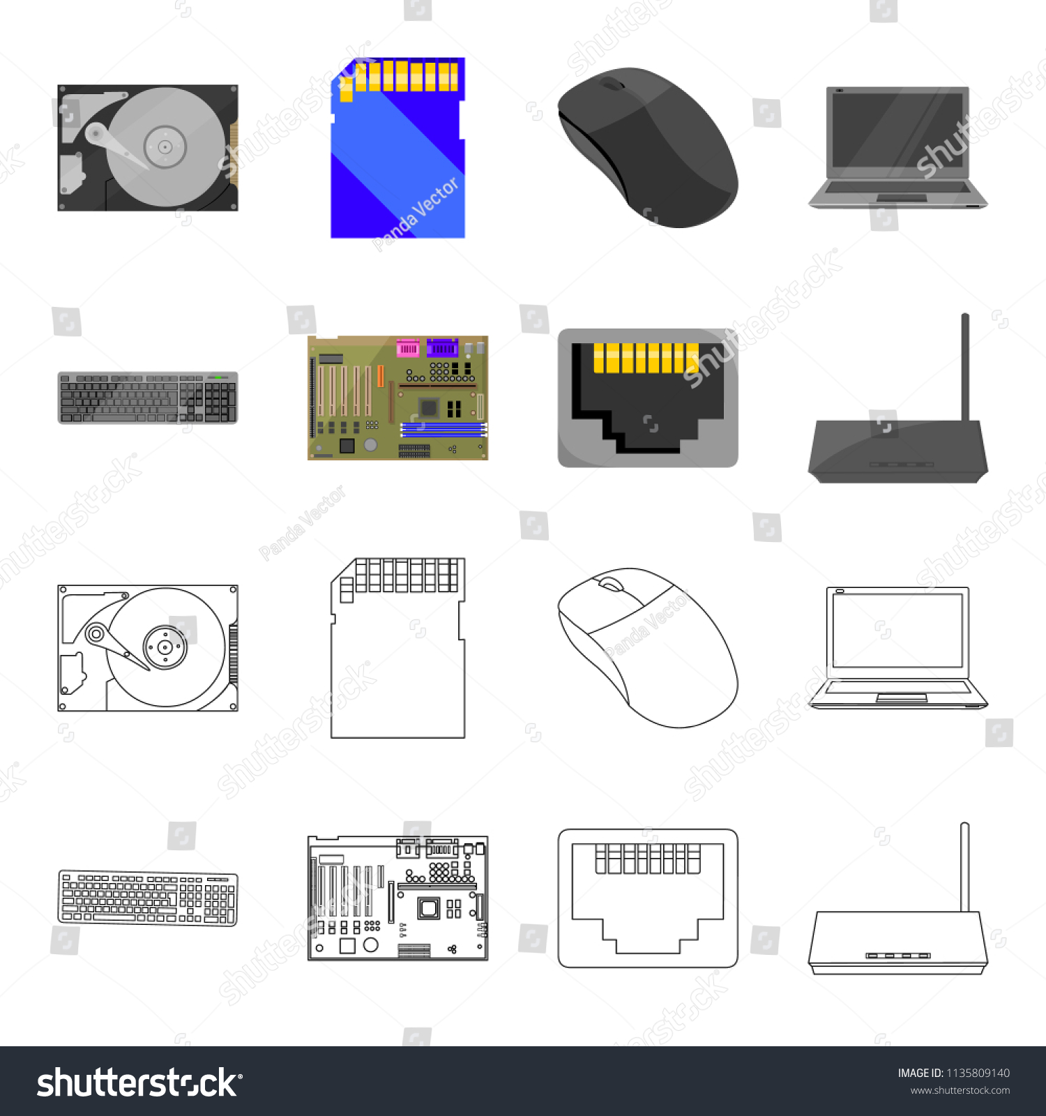 Keyboard router motherboard connector personal computer stock computer motherboard assembly keyboard, router, motherboard and connector personal computer set collection icons in cartoon,outline style bitmap symbol stock illustration web