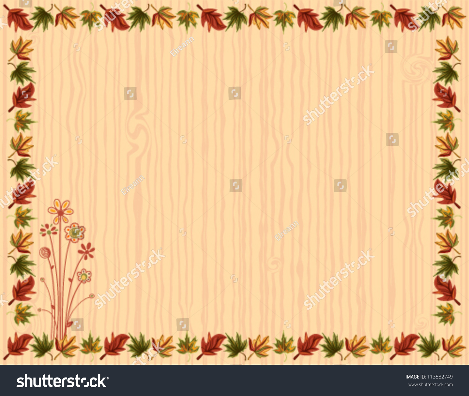 autumn greeting card leaves border floral stock vector