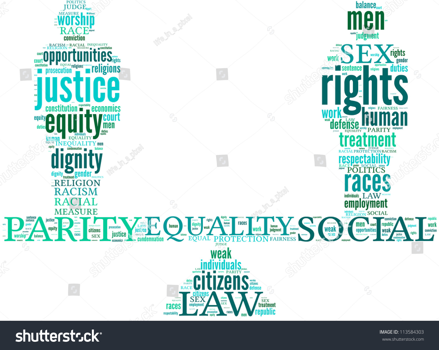 Equality Symbol Tag Cloud Stock Illustration 113584303 Shutterstock
