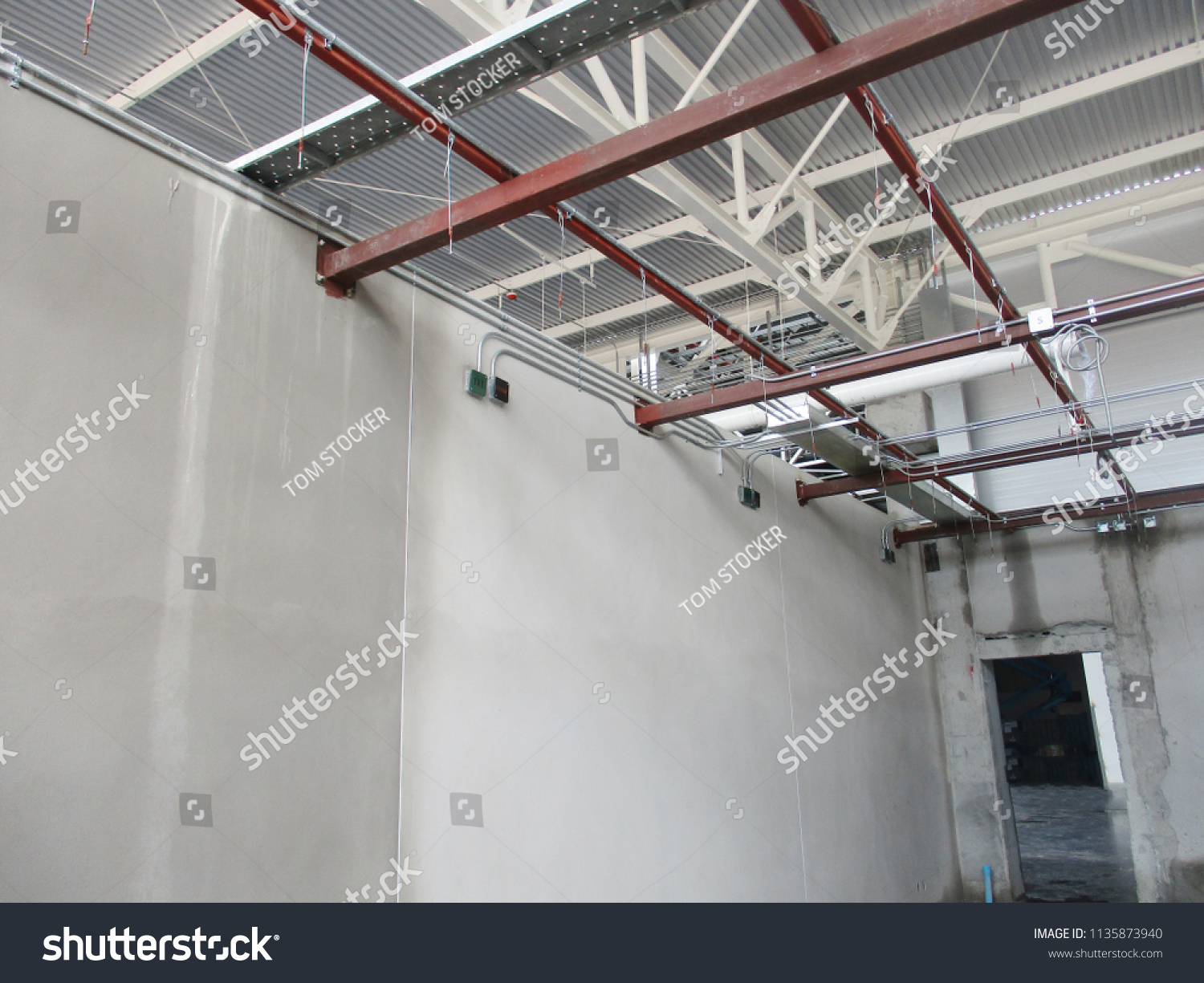 Installation Round Box Imt Conduit Support Stock Photo Edit Now