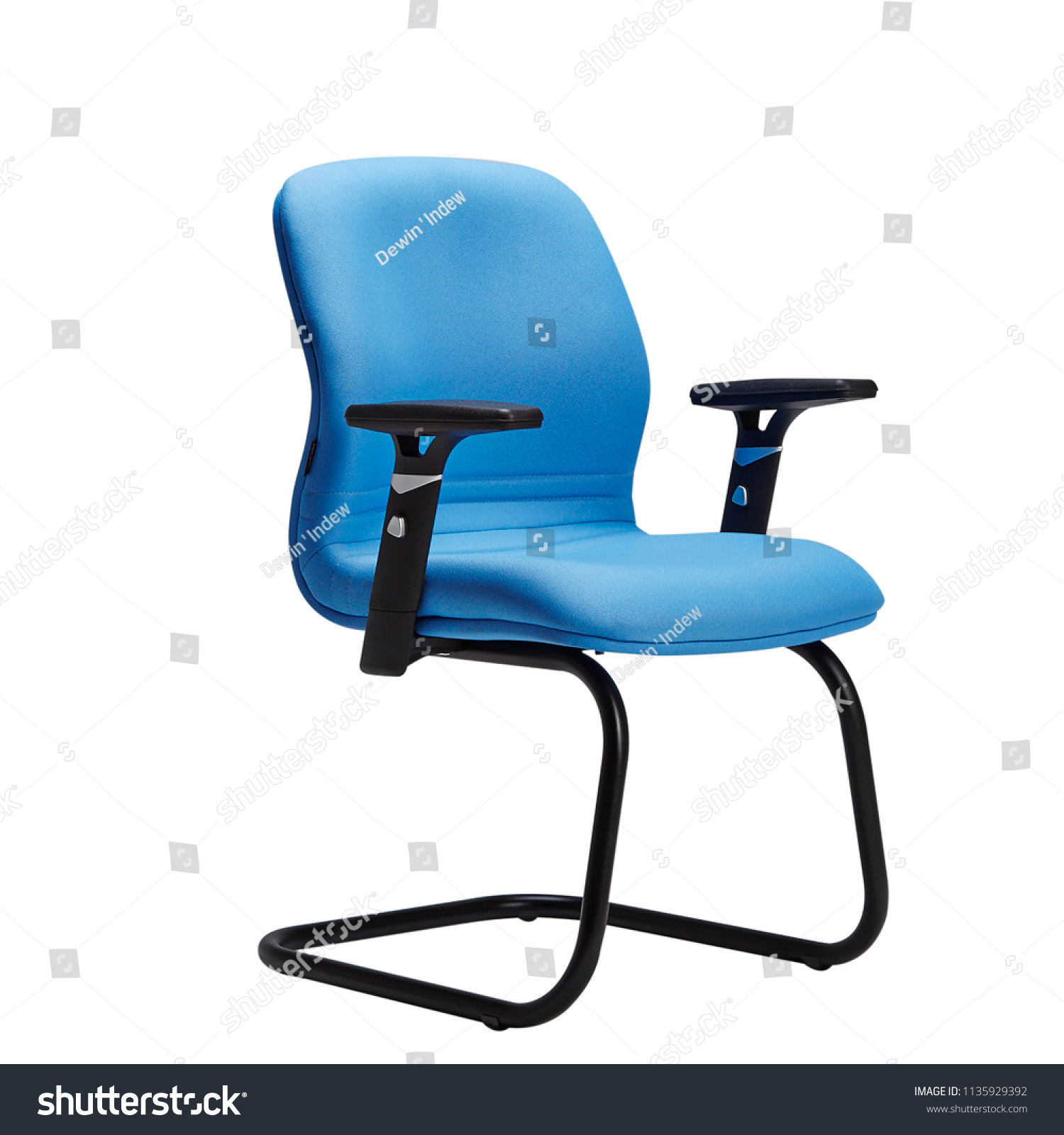 Picture of: Office Chair Desk Chair Blue Leather Stock Photo Edit Now 1135929392