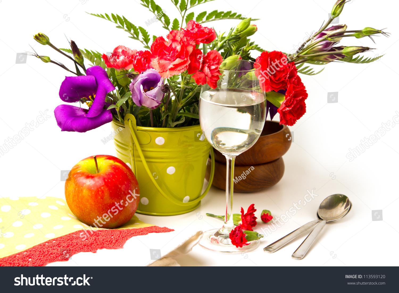 Beautiful Flowers Bouquet Images: Beautiful Flower Bouquet On White Background. Festive