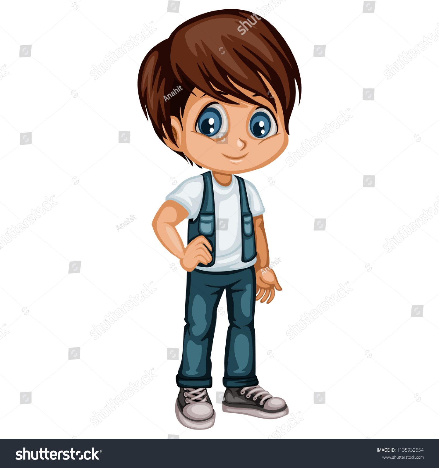 Cute cartoon boy character isolated on white background young boy illustration in casual clothes