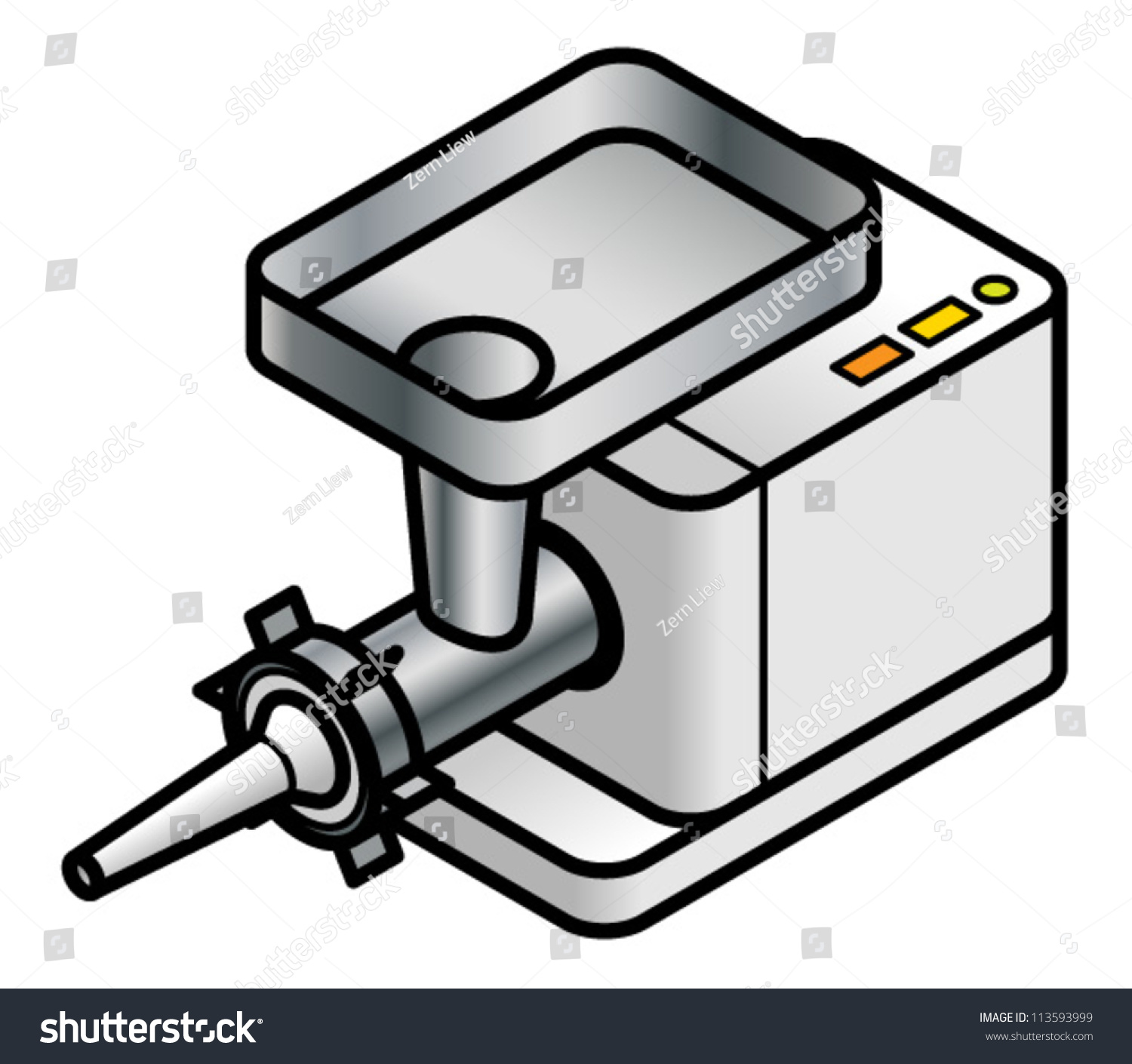 Benchtop Meat Mincer Sausagemaking Attachment Stock Vector