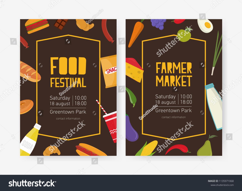 Bundle Flyer Poster Templates Food Festival Stock Vector Royalty