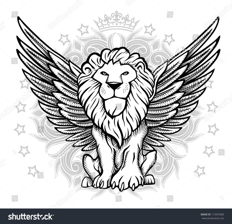 Winged lion tattoo - photo#44