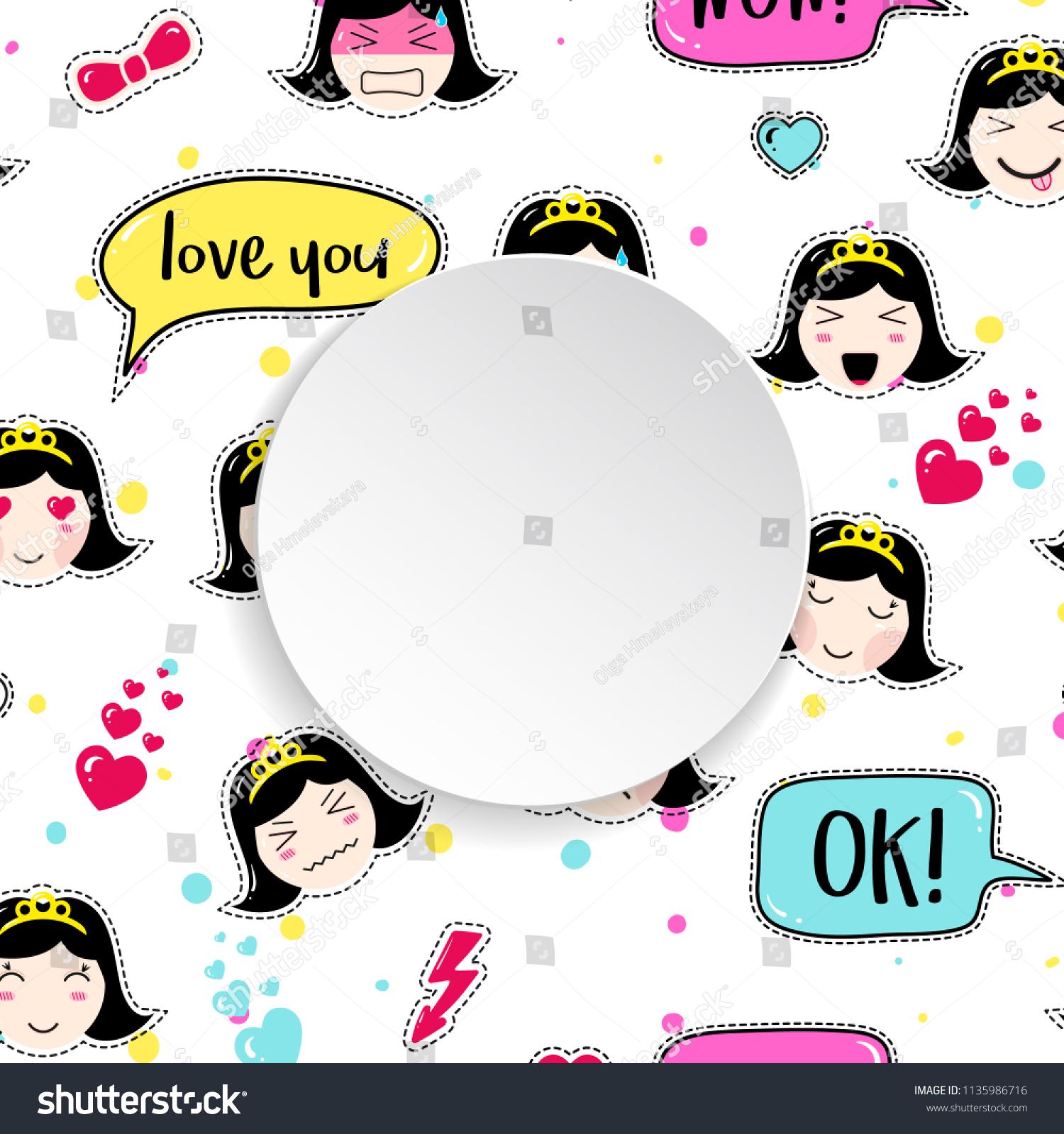 Girl Banner Anime Emoji Pattern Cute Stock Vector Royalty Free