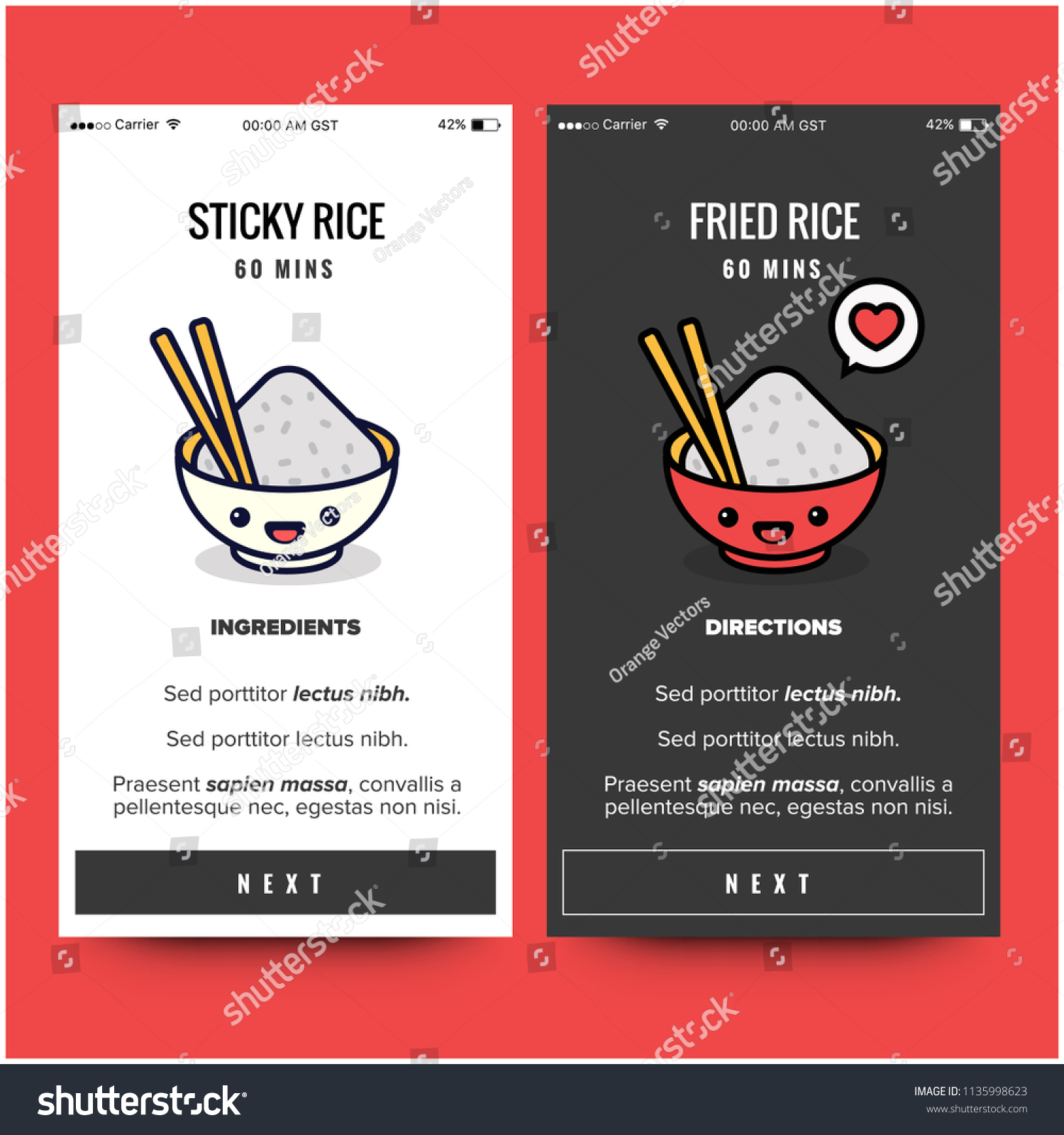 Rice asian food recipe app design stock vector 1135998623 shutterstock forumfinder Choice Image