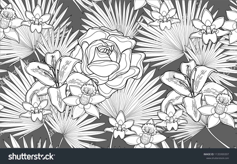 Palm Tree Leaves Roses Hawaiian Flowers Stock Vector Royalty Free
