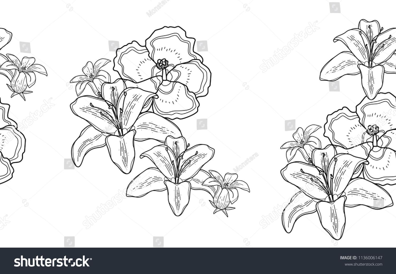 Hawaiian Flowers Big Leaves Exotic Flowers Stock Vector Royalty