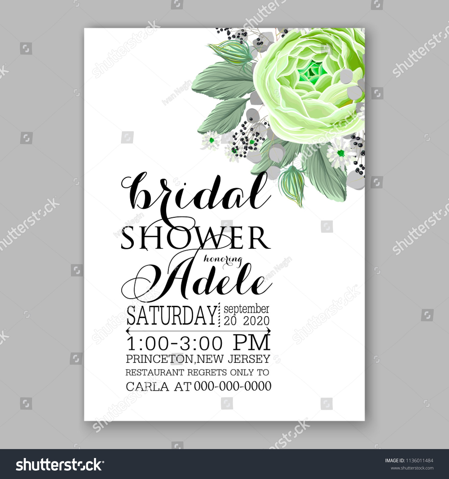 floral green peony ranunculus rose wedding invitation vector printable card template bridal shower bouquet flower marriage
