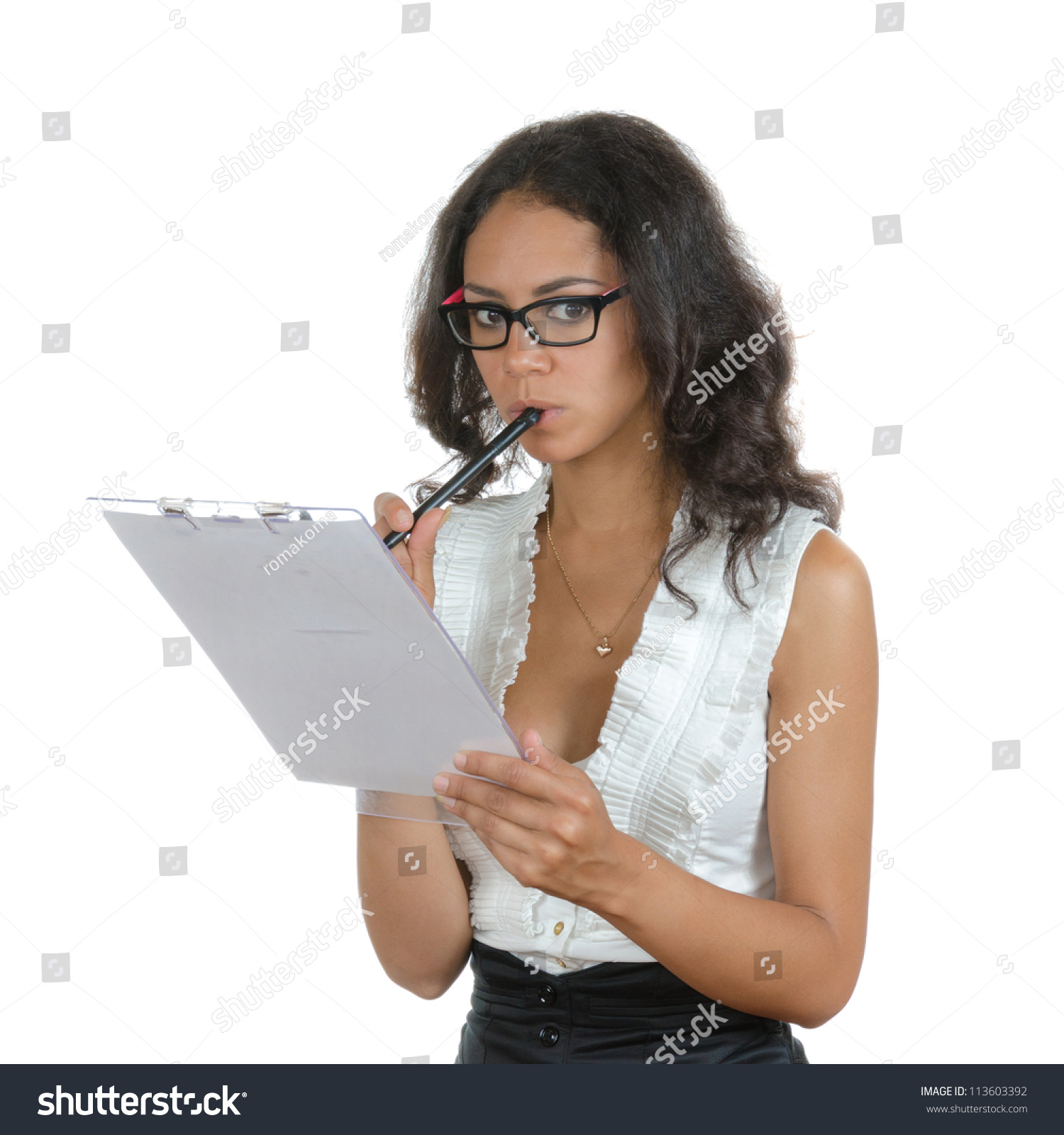 young woman different facial expressions secretary stock photo