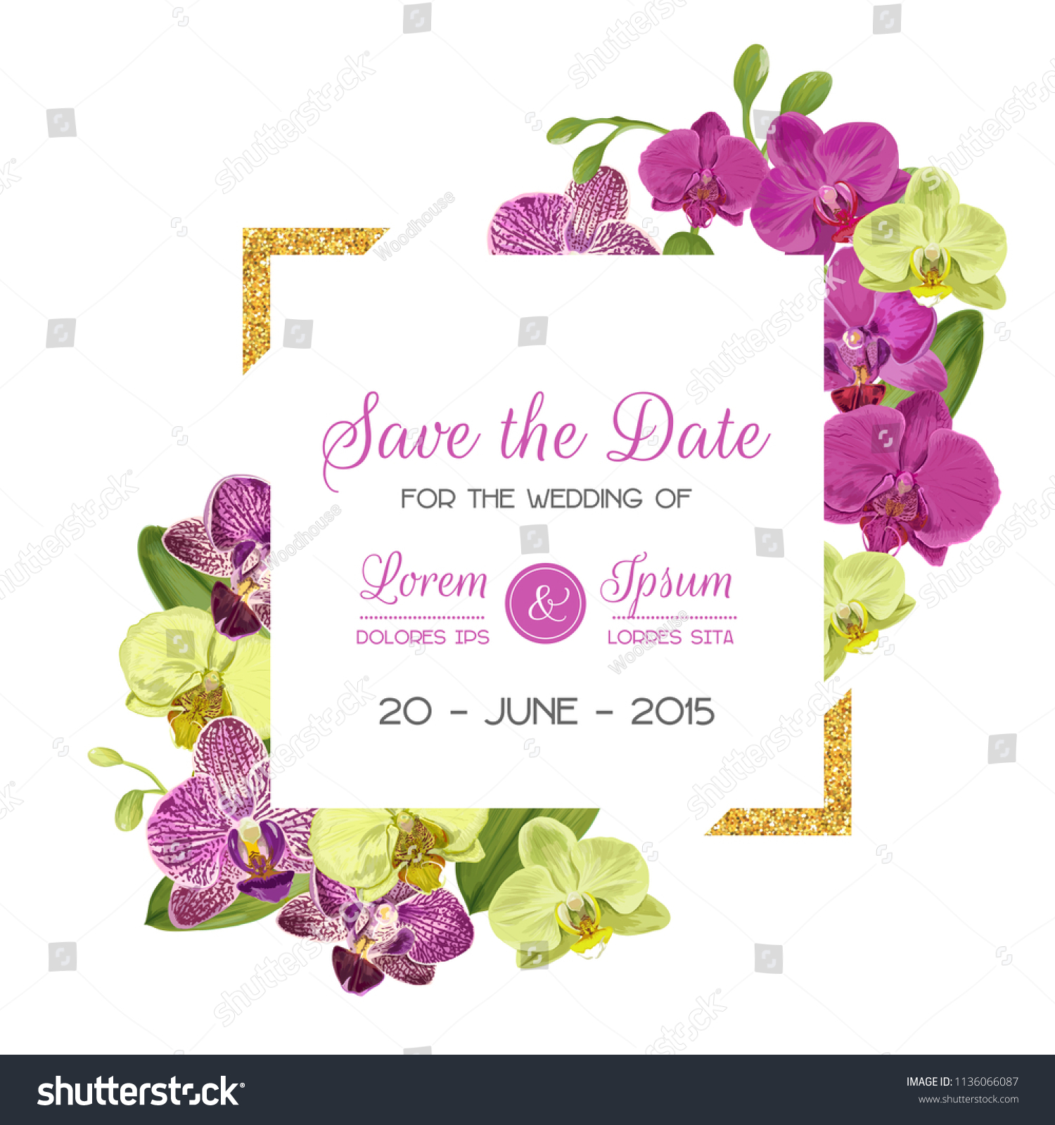 Wedding Invitation Layout Template Orchid Flowers Stock Vector ...