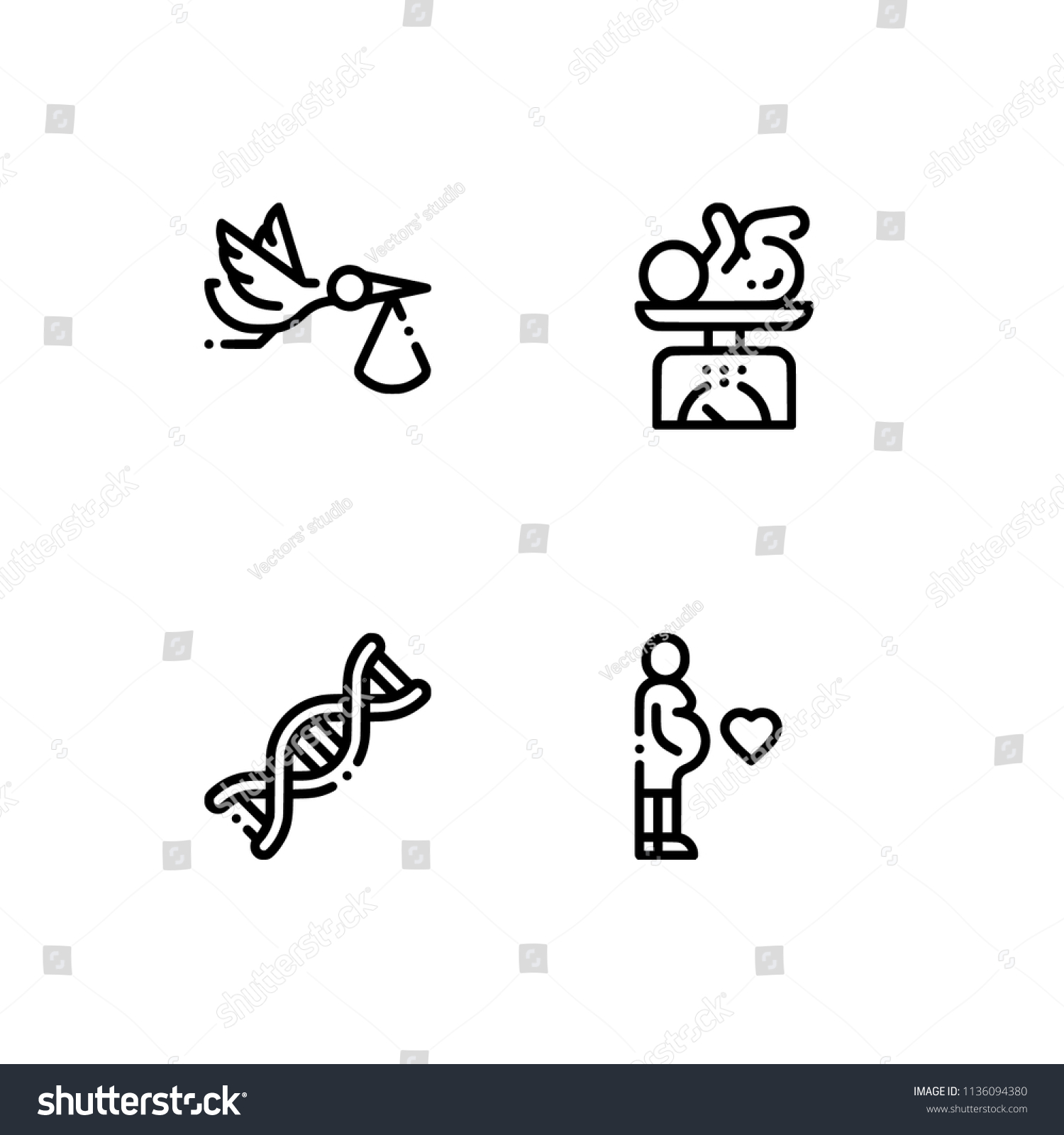 maternity healthcare baby set outline icon stock vector royalty