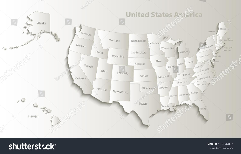 Usa Map Alaska Hawaii Map Separate Stock Vector Royalty Free