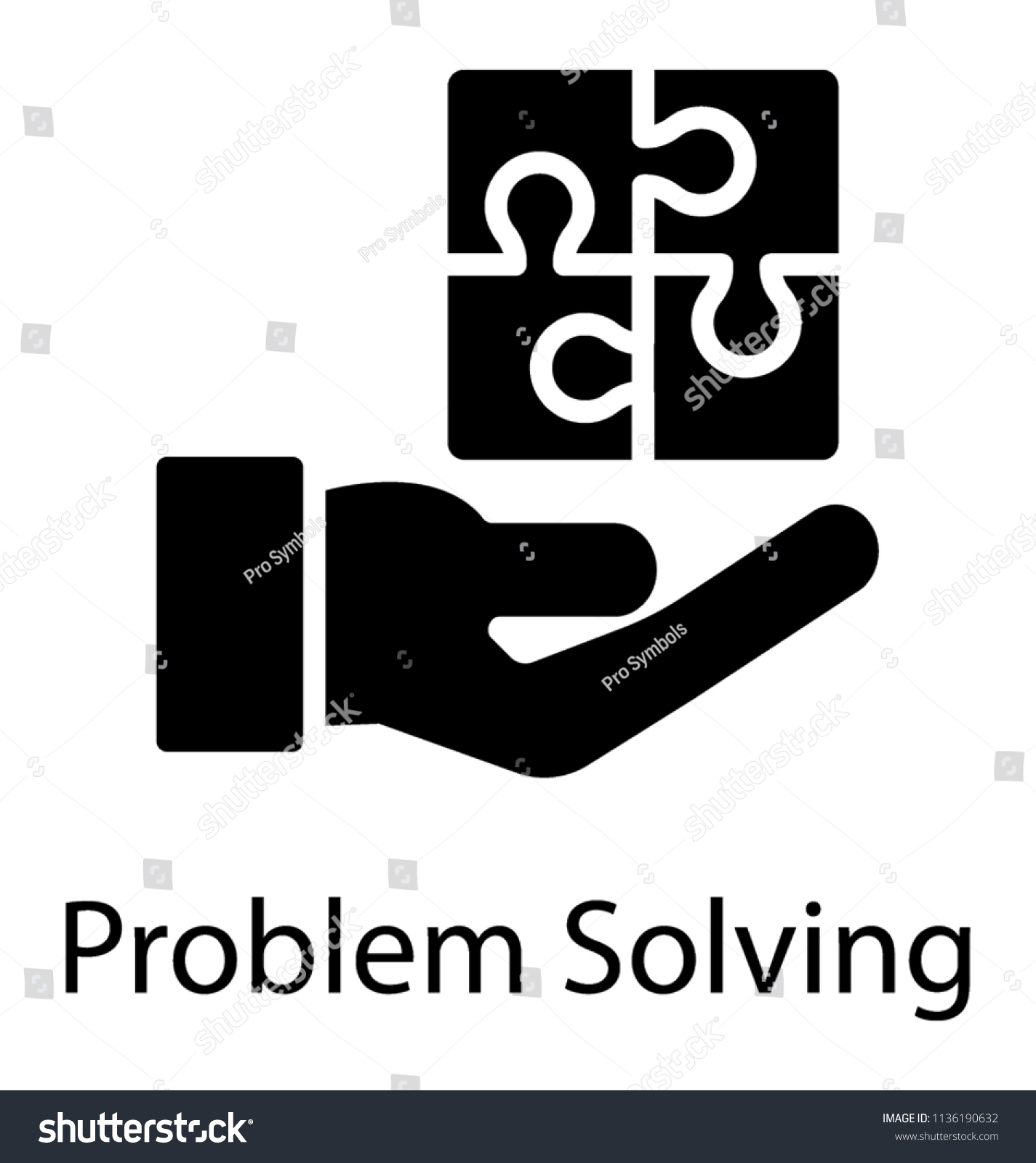 Solved Puzzle Service Hand Revealing Icon Stock Vector Royalty Free