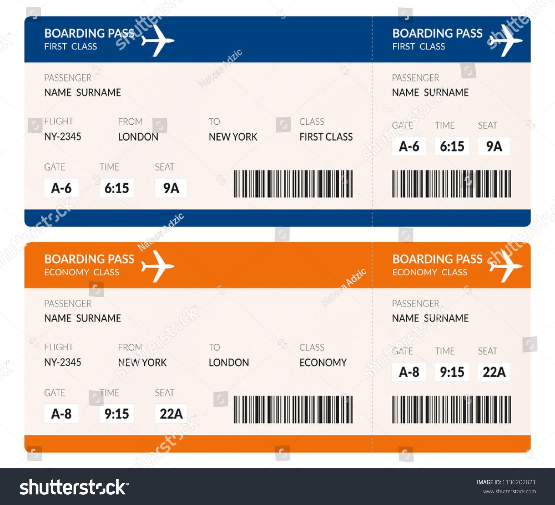 Airline Boarding Pass Ticket Illustration Barcode Stock Illustration