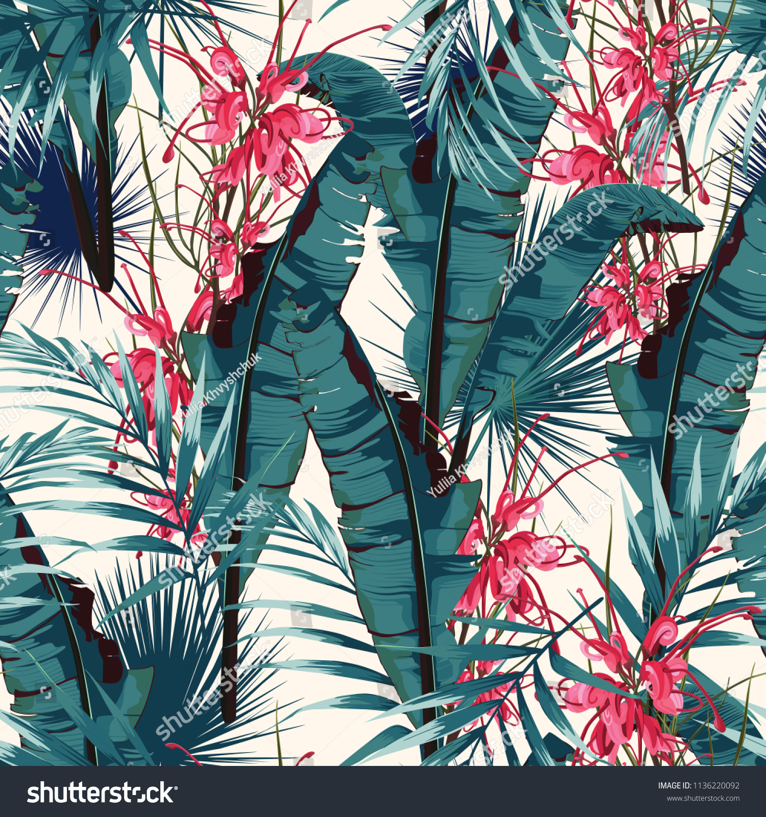 tropic summer painting seamless vector pattern stock vector (royalty