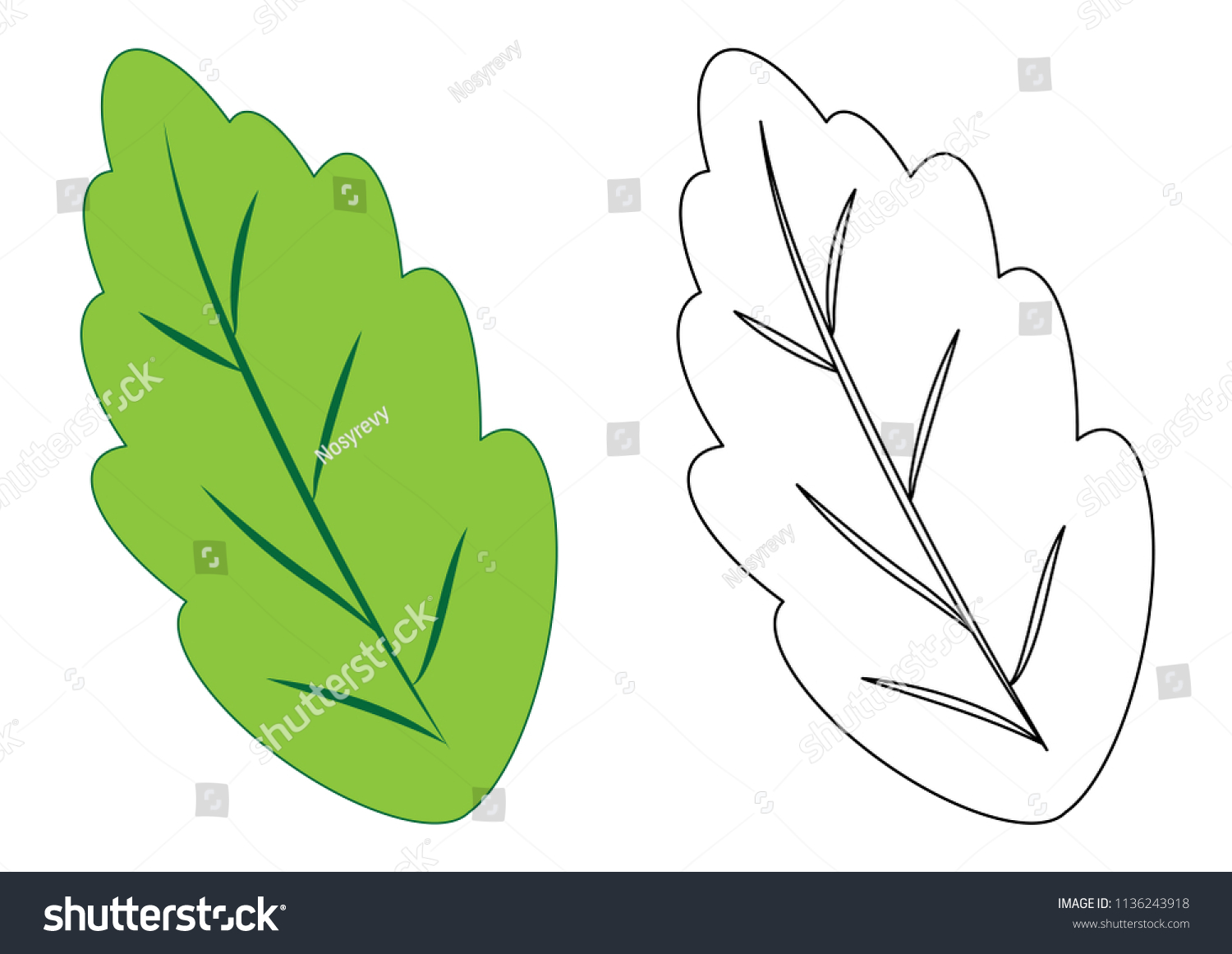 Leaf Coloring Page Game Kids Vector Stock Vector 1136243918 ...