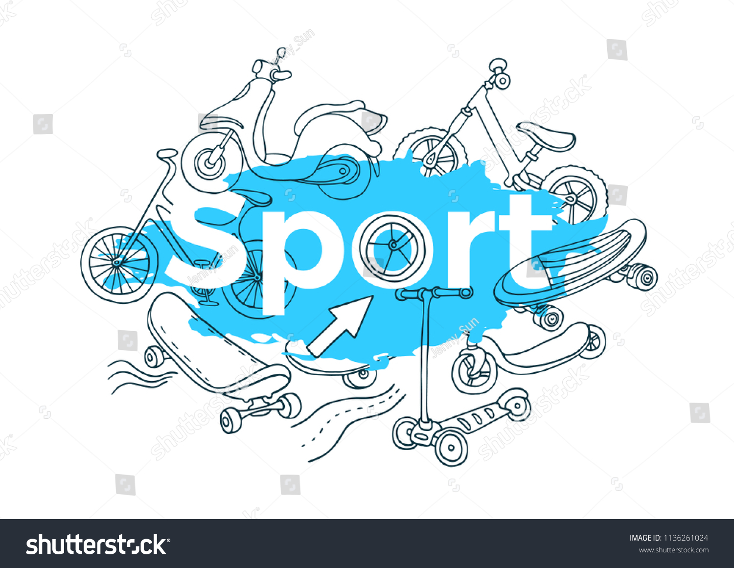 Vector template doodle sports sketch line stock vector royalty free vector template doodle sports sketch line art set cartoon banner modern hand draw illustration isolated maxwellsz