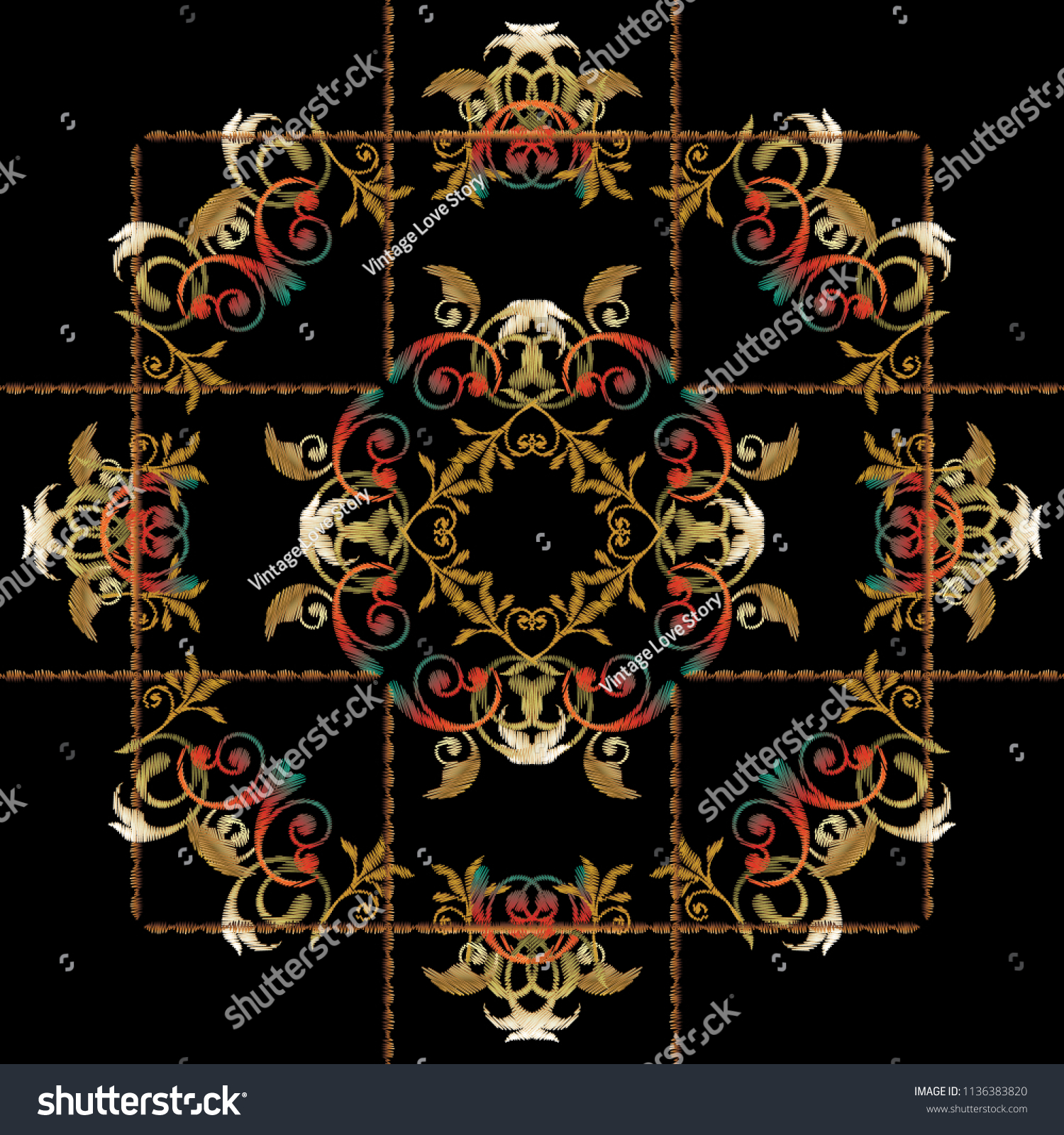 Baroque Floral Embroidery Mandala Panel Pattern Stock Vector