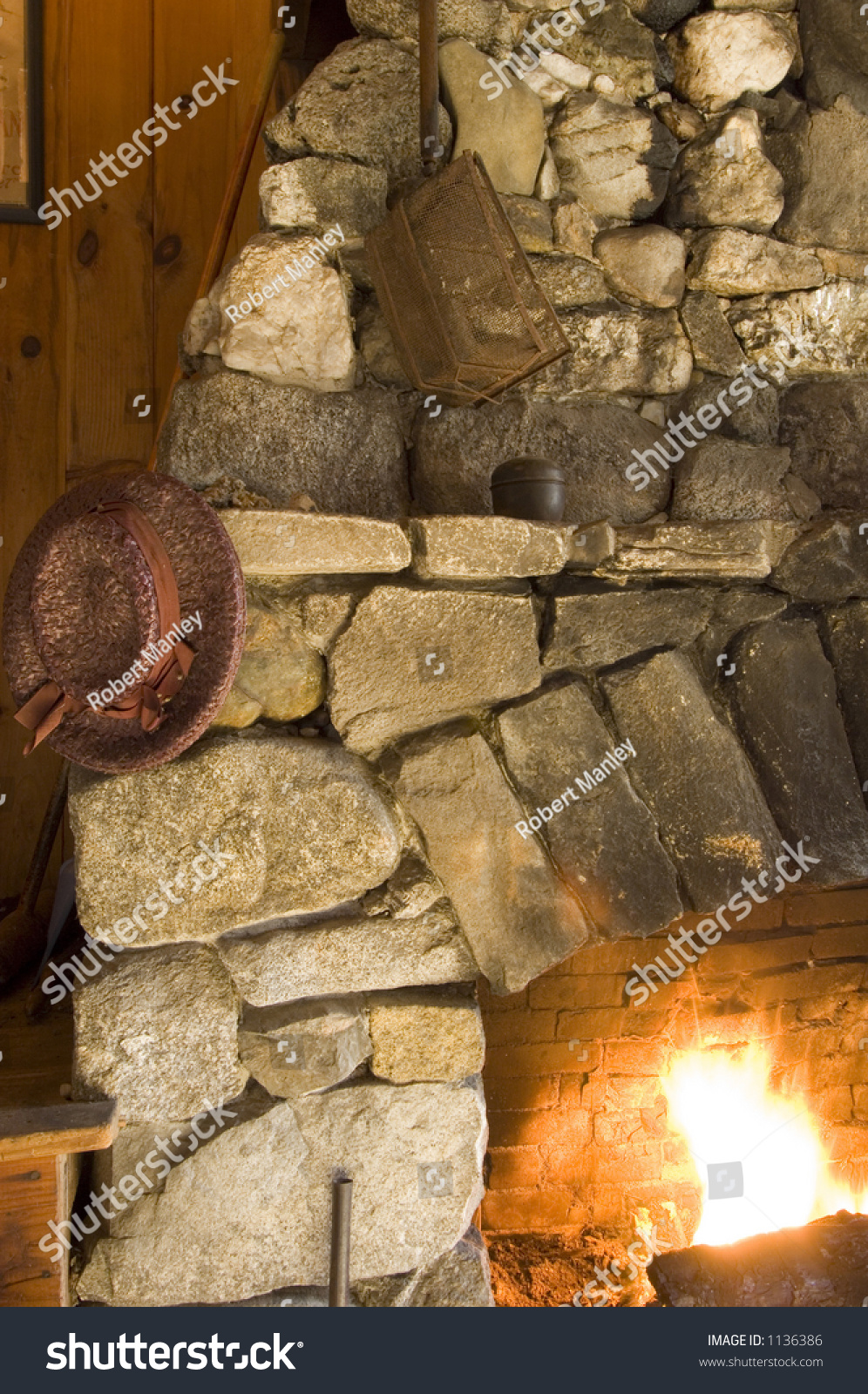 old stone fireplace. Old Stone Fireplace Straw Hat Hanging Stock Photo 1136386 stone fireplace