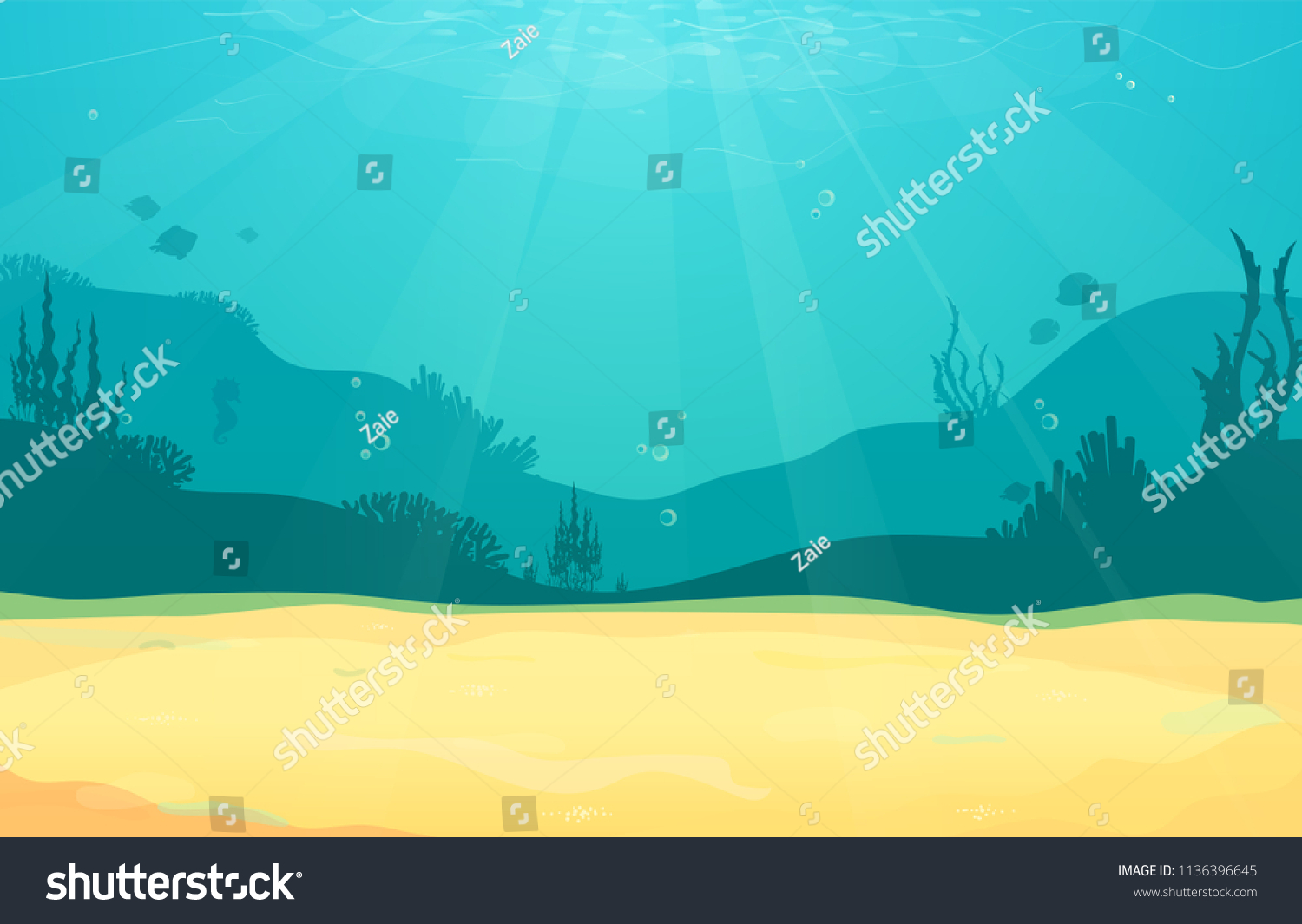 Underwater cartoon flat background with fish silhouette, sand, seaweed, coral. Ocean sea life, cute design. Vector illustration