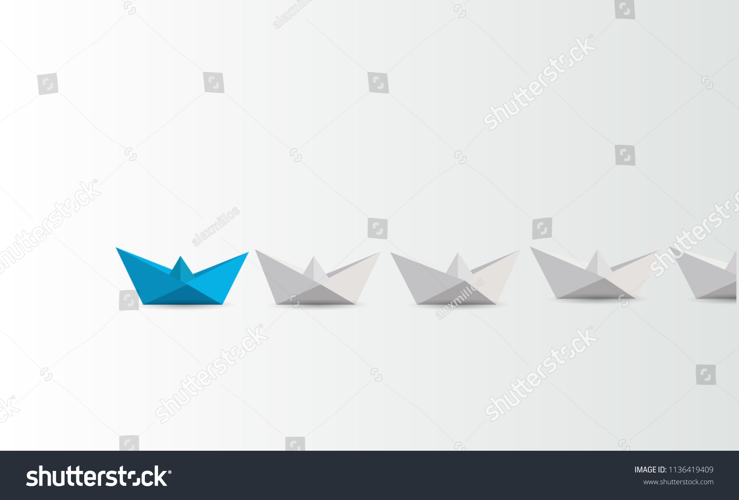 Leadership business concept vector with blue paper boat leading white. business concept. leadership concept. illustration design graphic #1136419409