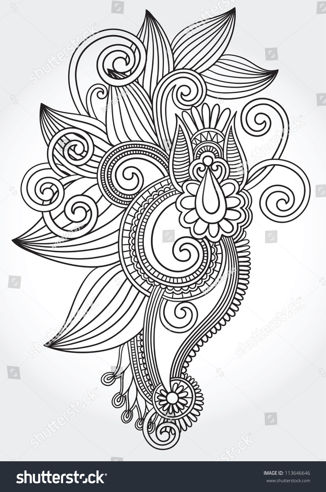 Traditional Flower Line Drawing : Black white original hand draw line stock vector