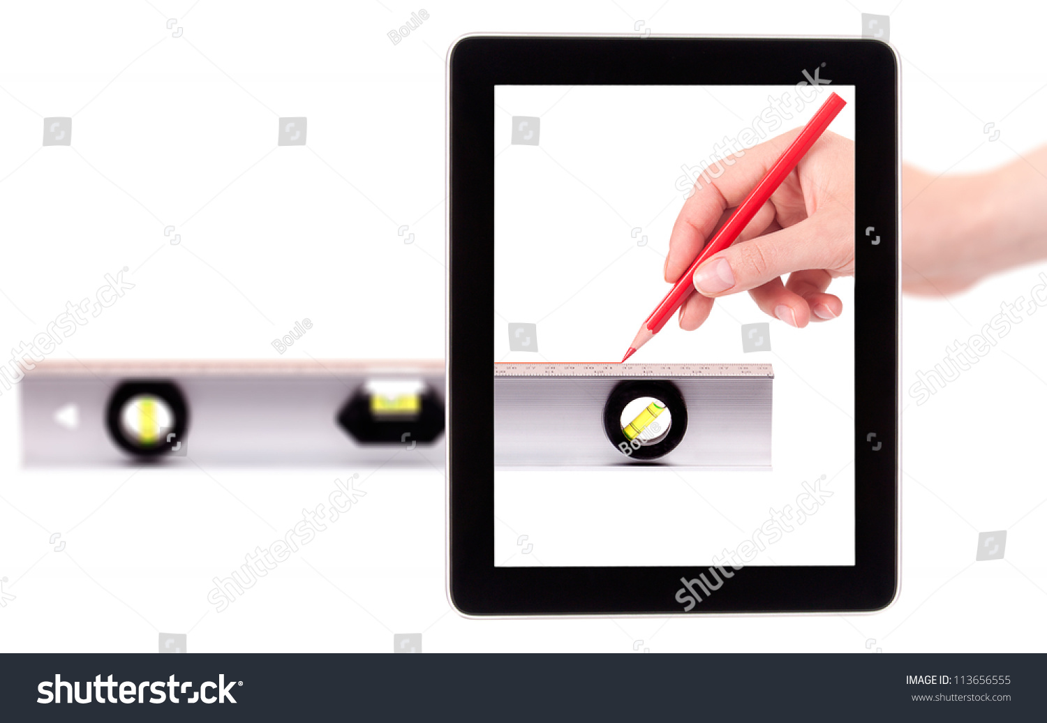 Drawing Smooth Lines In Photo With Tablet : Hand drawing red line using a spirit level on digital