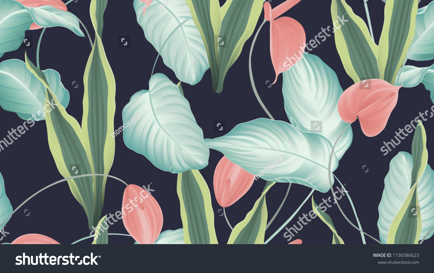 Tropical seamless pattern red anthurium flowers stock vector tropical seamless pattern red anthurium flowers dumbcane snake plant on dark blue background izmirmasajfo