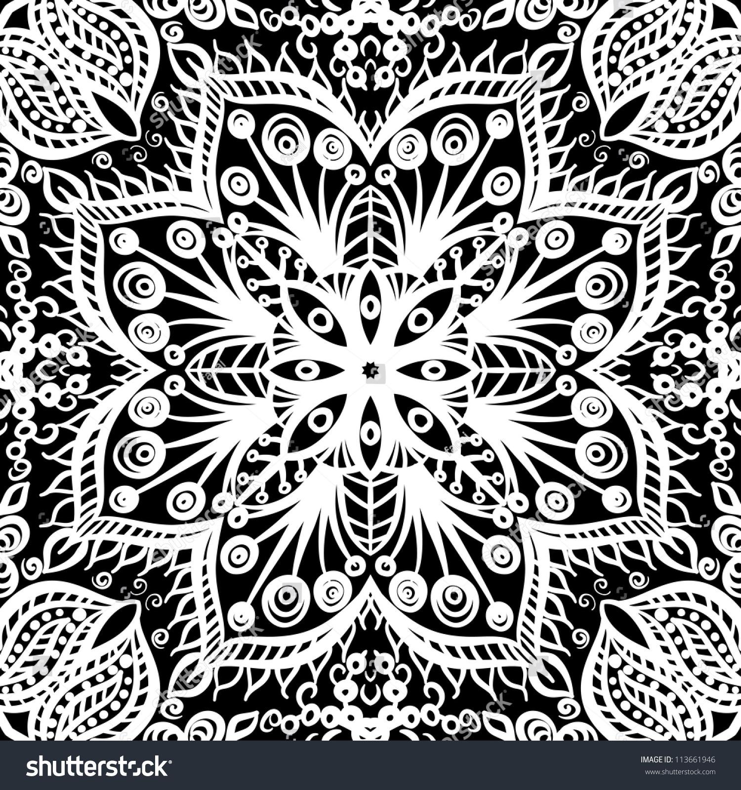 Vintage Floral Background Black White Seamless Stock ...   Black Floral Vintage Pattern