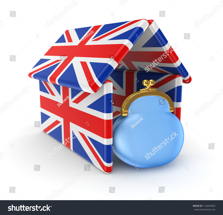 blue purse under roof made british stock illustration 113664043