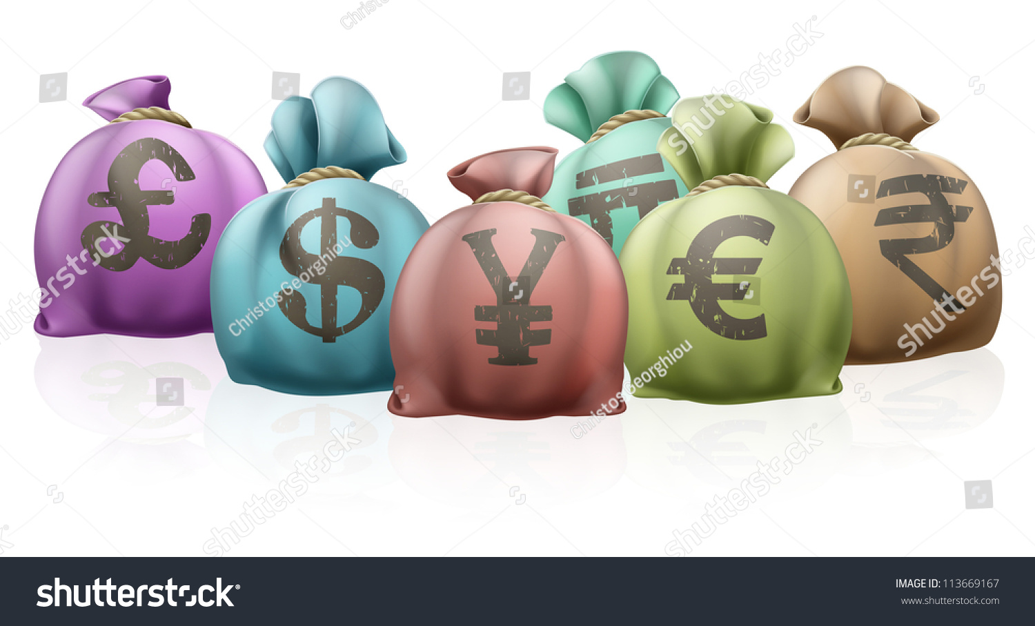 Bags Money Different Countries Currency Symbols Stock Illustration