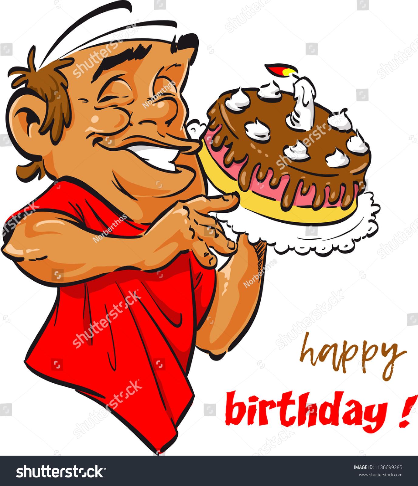 Happy Birthday Man Throwing Cake Stock Vector Royalty Free