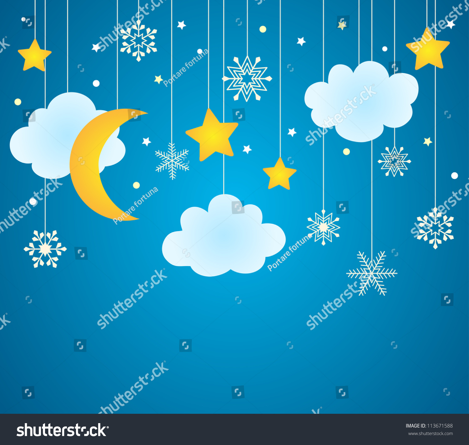 vector blue background hanging clouds moon stock vector 113671588