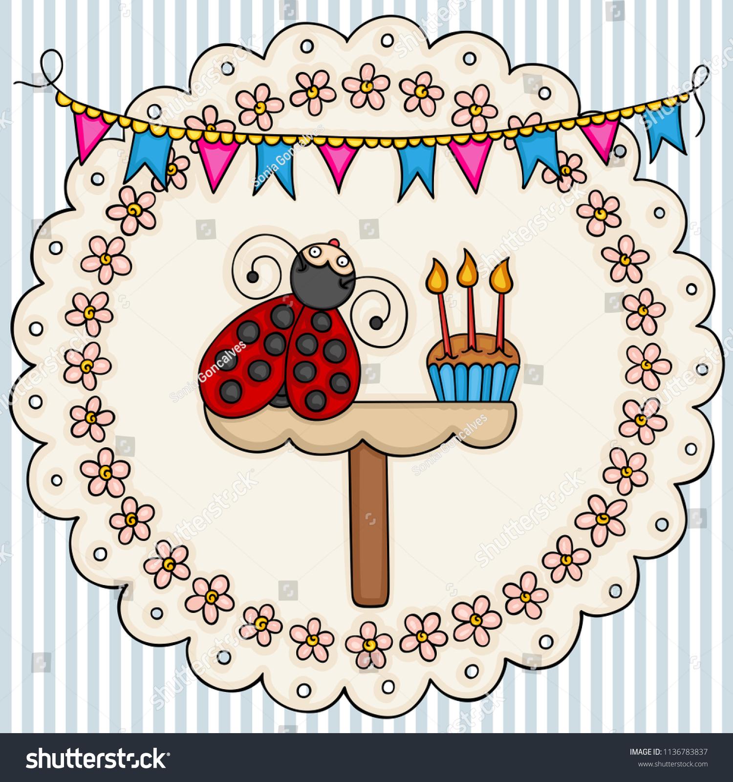 Card Template Cute Ladybug Birthday Cake Stock Vector 1136783837 ...