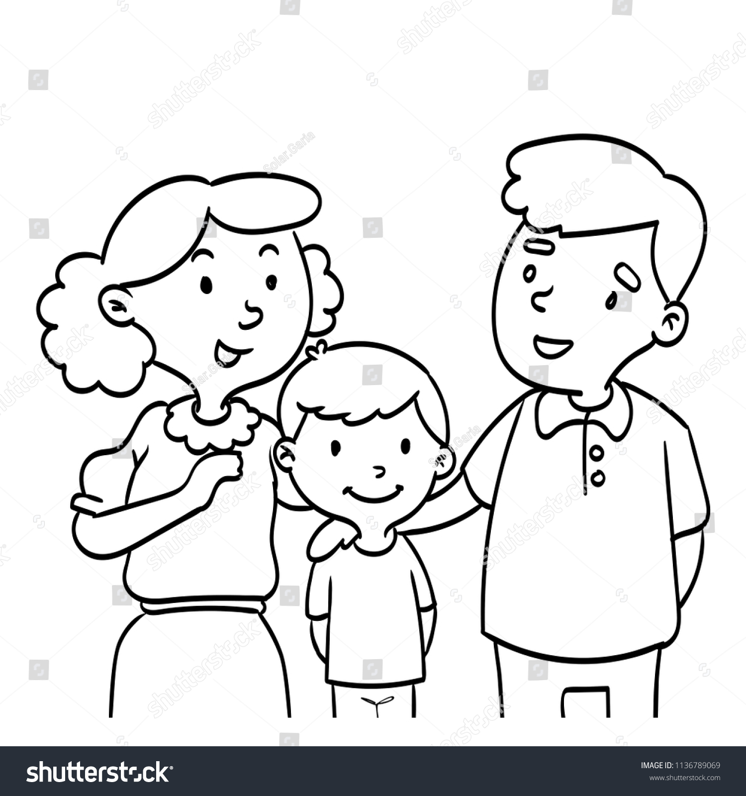 Hand Drawn Happy Family Coloring Book Stock Vector (Royalty Free ...