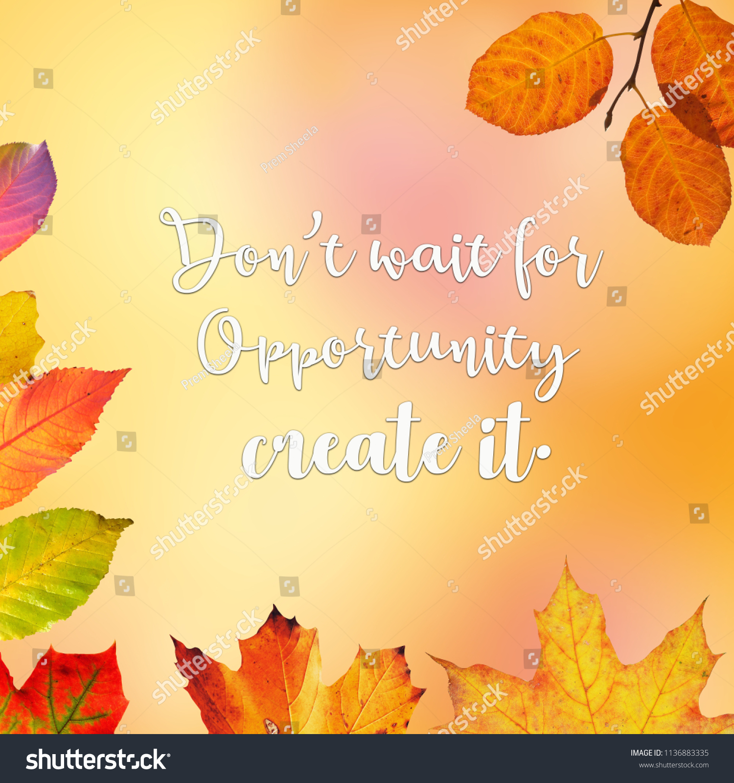 Quote Motivational Inspirational Quotes On Leafy Stock Illustration