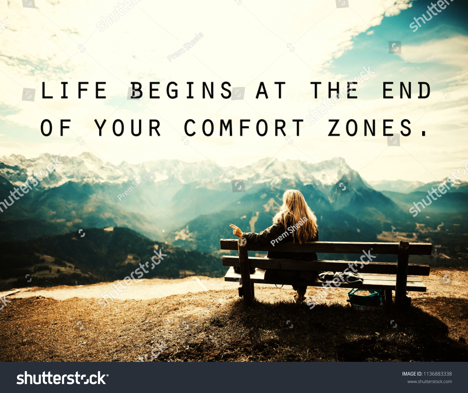 Quotes Life Begins End Your Comfort Stock Illustration 1136883338
